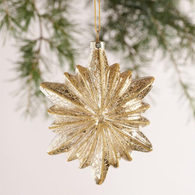 Glittered Glass Starburst Ornaments, Set of 2