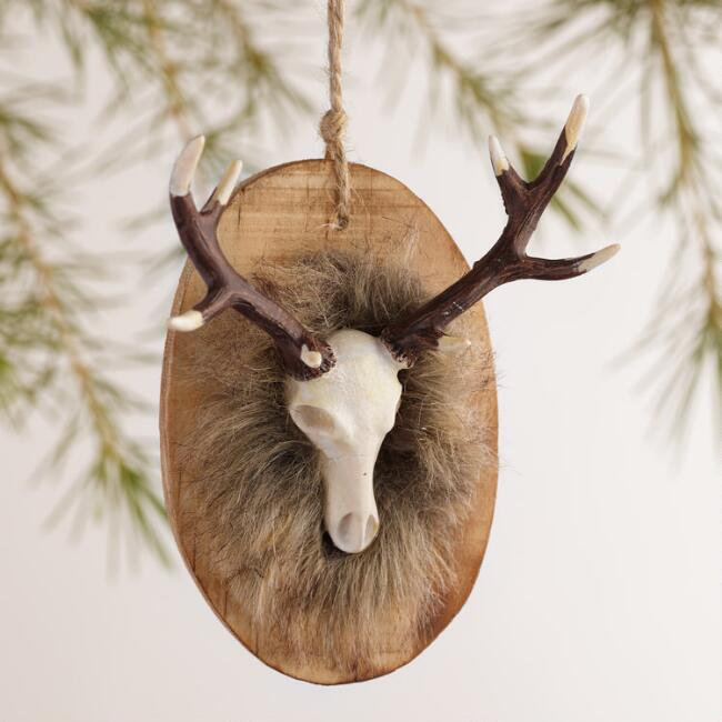 Wood-Mounted Deer and Moose Head Ornaments, Set of 2