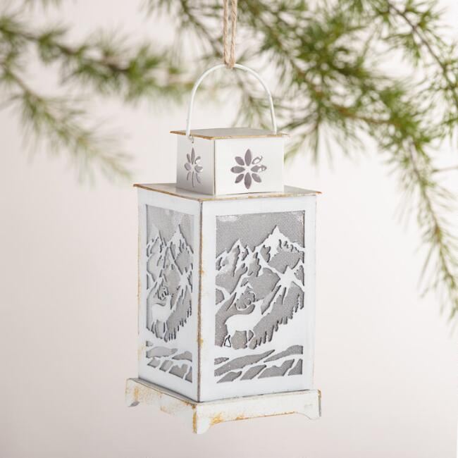 White Paper Lantern Ornaments, Set of 2