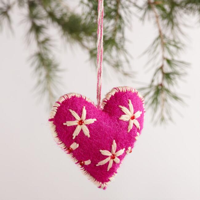 Felt Stitched Heart Ornaments, Set of 3