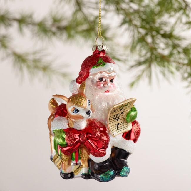 Santa with Deer Ornaments, Set of 2