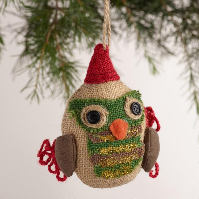 Burlap Owl with Hat Ornaments, Set of 2
