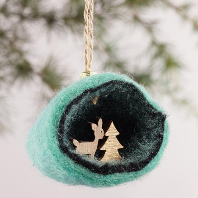 Felt Woodland Scene Ornaments, Set of 2