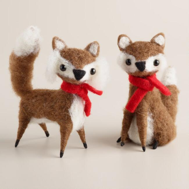 Felt Foxes with Red Scarves, Set of 2