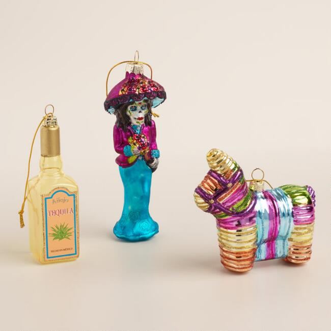 Glass Mexico Boxed Ornaments, 3-Pack
