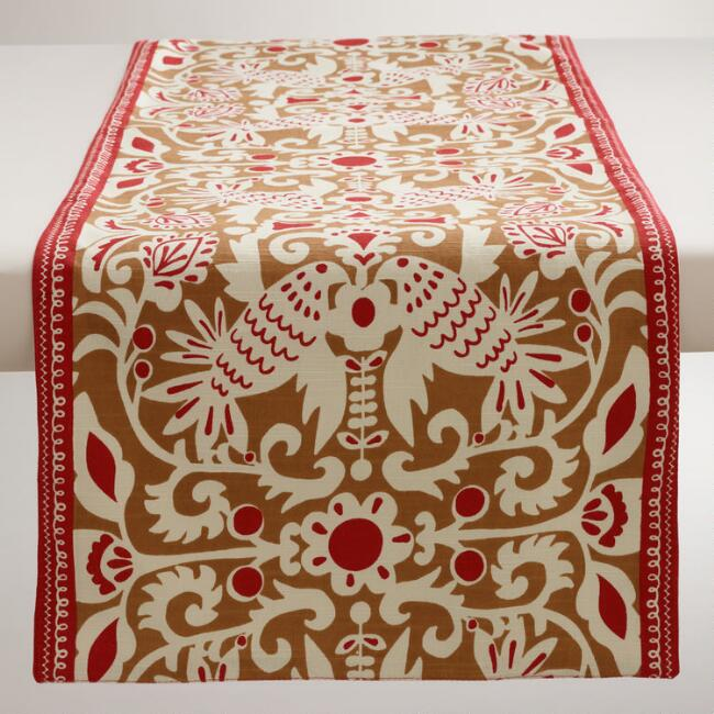 Golden-Brown and Red Folk Bird Table Runner