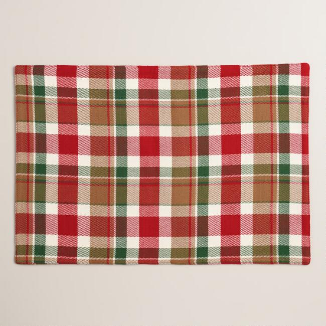 Red and Green Plaid Placemats, Set of 4