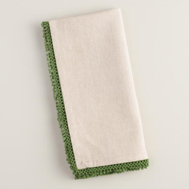 Chambray Napkins with Green Chenille Trim, Set of 4
