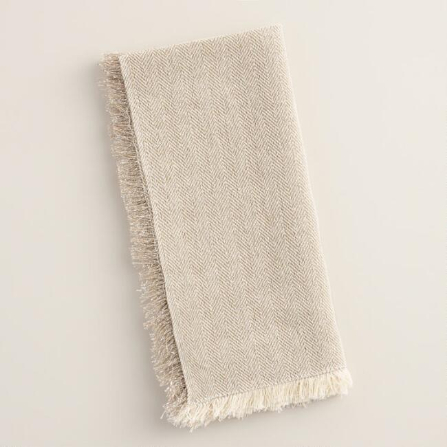 Ivory and Silver Herringbone Napkins, Set of 4
