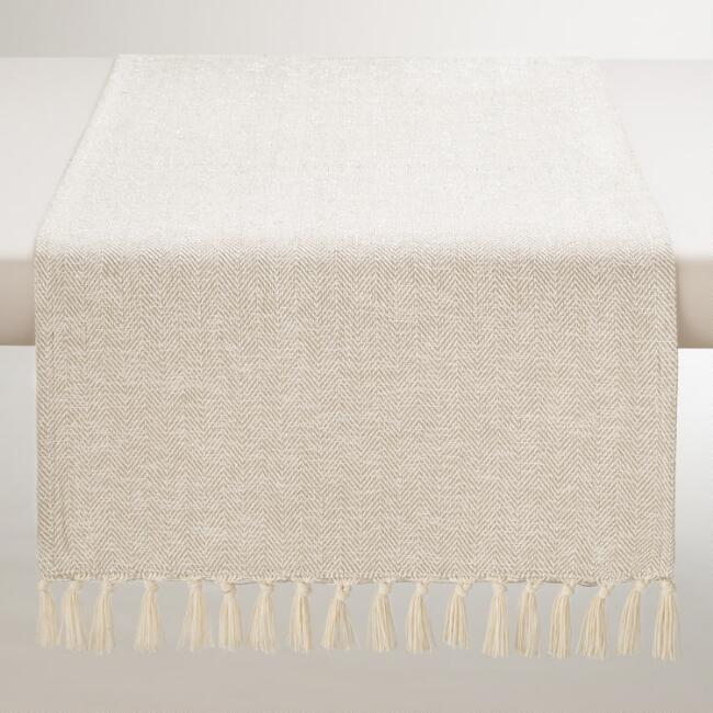 Ivory and Silver Herringbone Table Runner