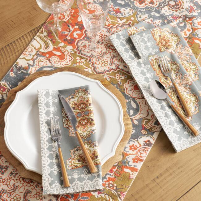 Gray and Orange Felicity Table Linen Collection