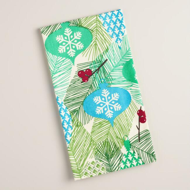 Pine and Vintage-Style Baubles Flour Sack Kitchen Towel