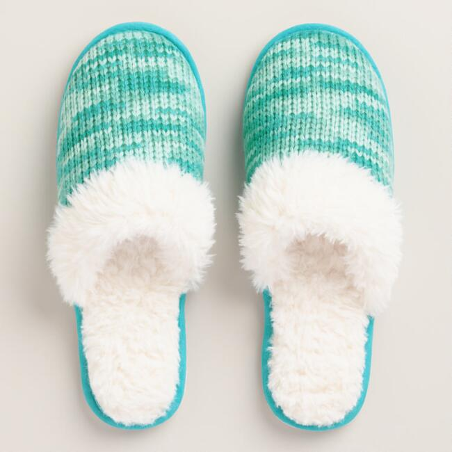 Blue Knit Shearling Slippers