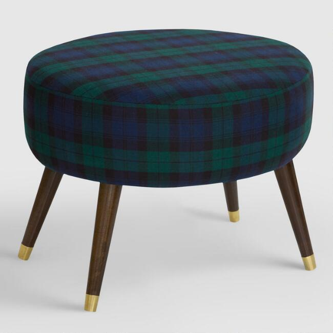 Oval Blackwatch Plaid Upholstered Ottoman