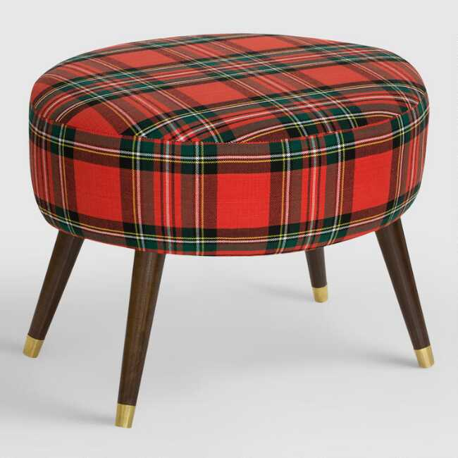 Tremendous Oval Ancient Stewart Plaid Upholstered Ottoman Inzonedesignstudio Interior Chair Design Inzonedesignstudiocom