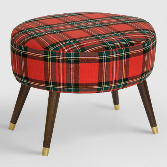 Oval Ancient Stewart Plaid Upholstered Ottoman