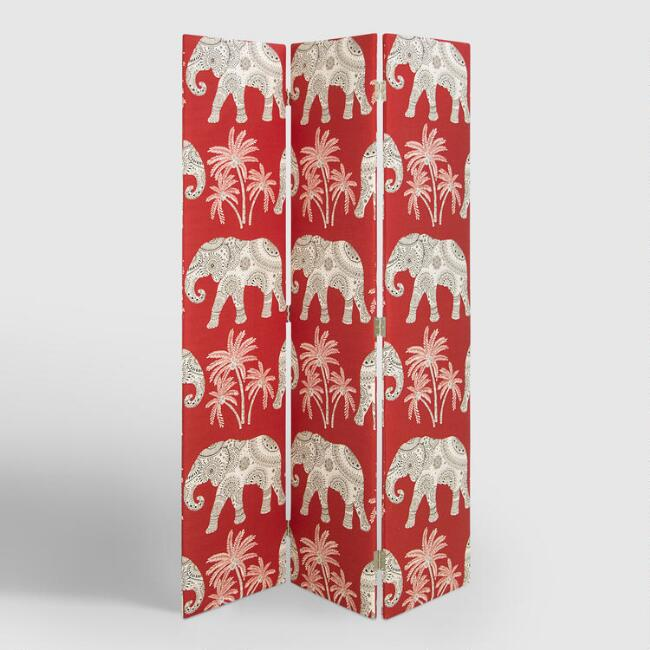 Red Elephant Upholstered Screen