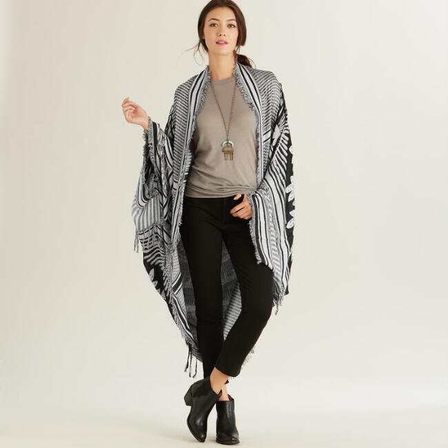 Black and White Print Kimono with Fringe