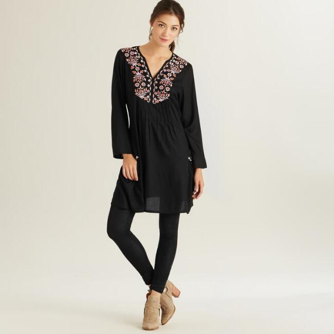 Black and Lavender Embroidered Florence Tunic