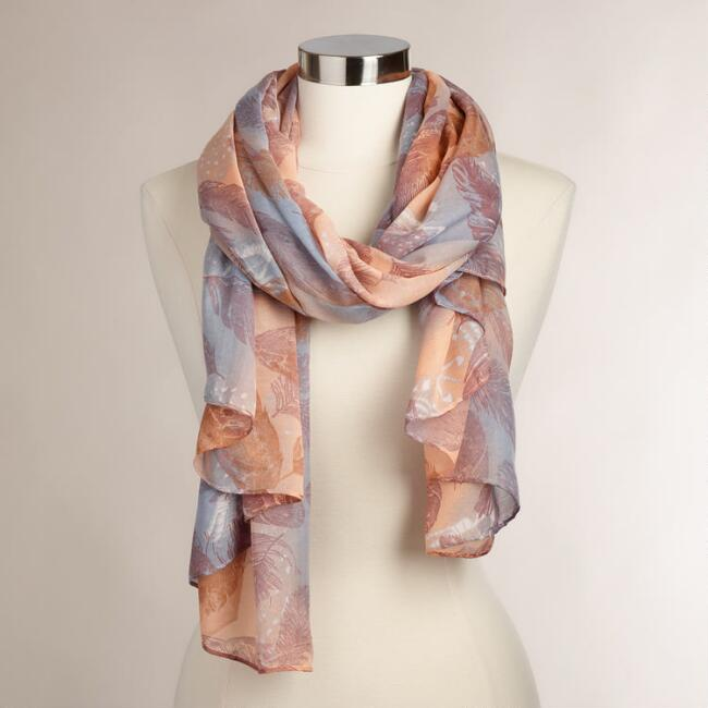Peach and Lavender Feather Print Scarf