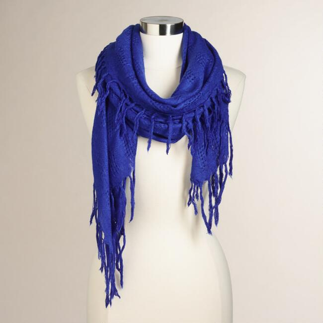 Cobalt Knit Scarf with Fringe