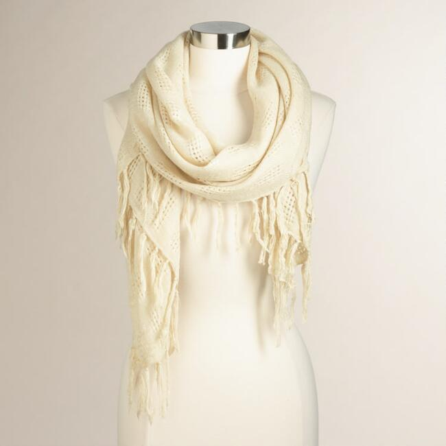 Ivory Knit Scarf with Fringe