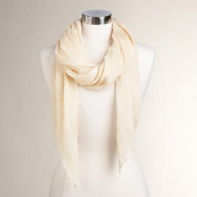 Cream and Gold Foil Scarf