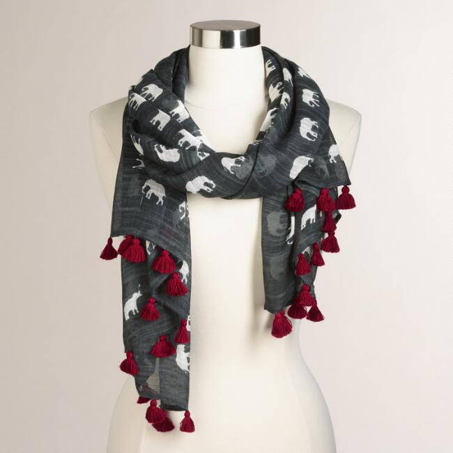 Gray Elephant Scarf with Tassels