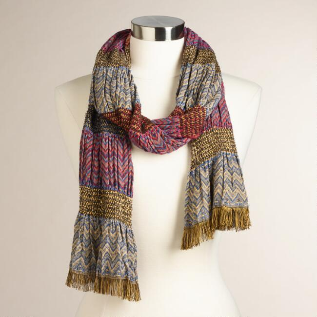 Blue and Red Jacquard Scarf