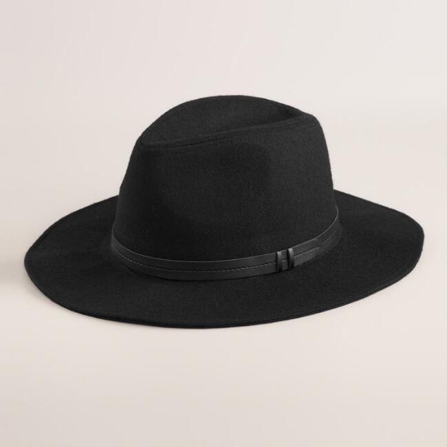 Black Wool Fedora with Leather Band