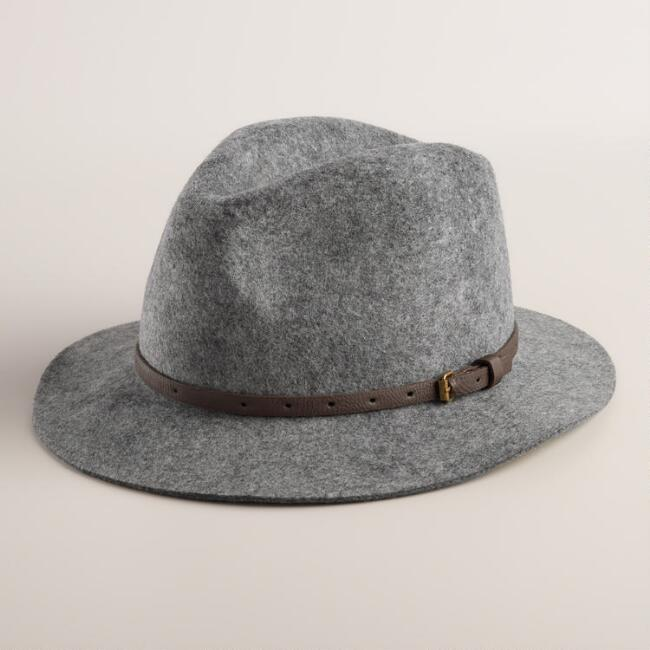 Gray Fedora with Leather Buckle