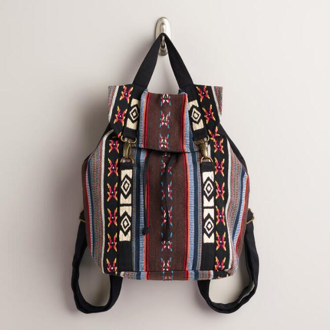 Multicolor Stripe Woven Backpack