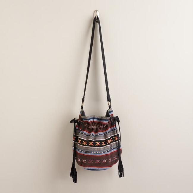 Multicolor Stripe Woven Bucket Bag