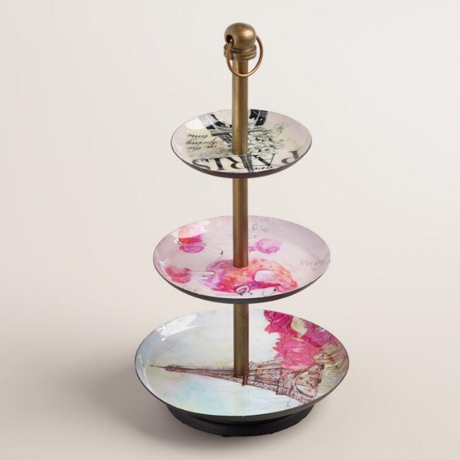 Enamel 3-Tier Paris Jewelry Stand