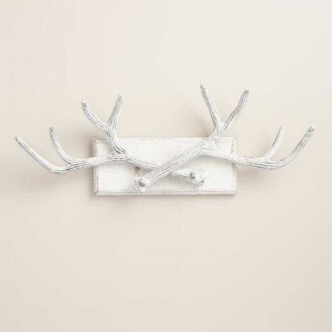 White Antler Wall Jewelry Holder