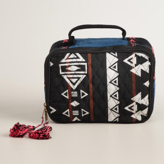 Large Blue, Black and White Cosmetic Bag