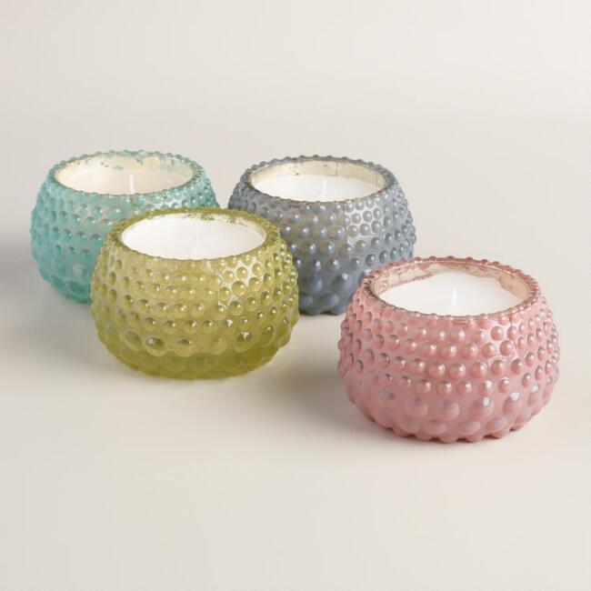 Dotted Glass Filled Votive Candles, Set of 4