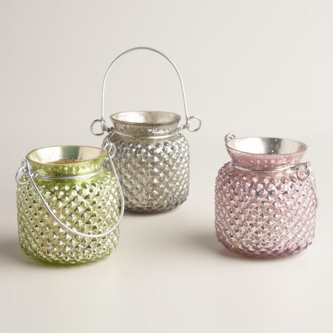 Small Hobnail Mercury Glass Tealight Lanterns, Set of 3