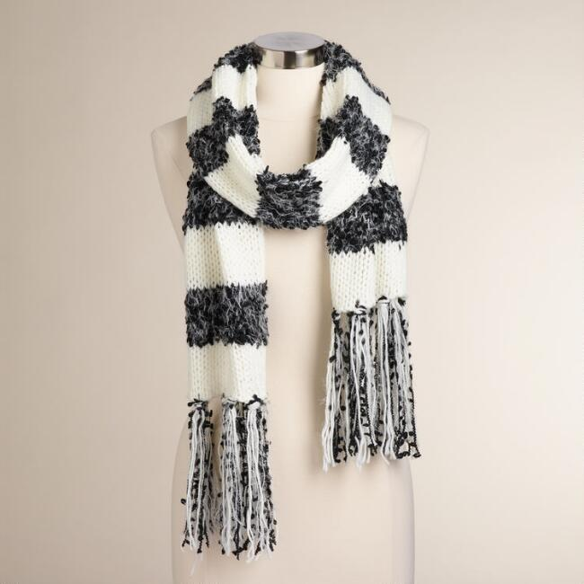 Ivory and Black Stripe Scarf with Fringe