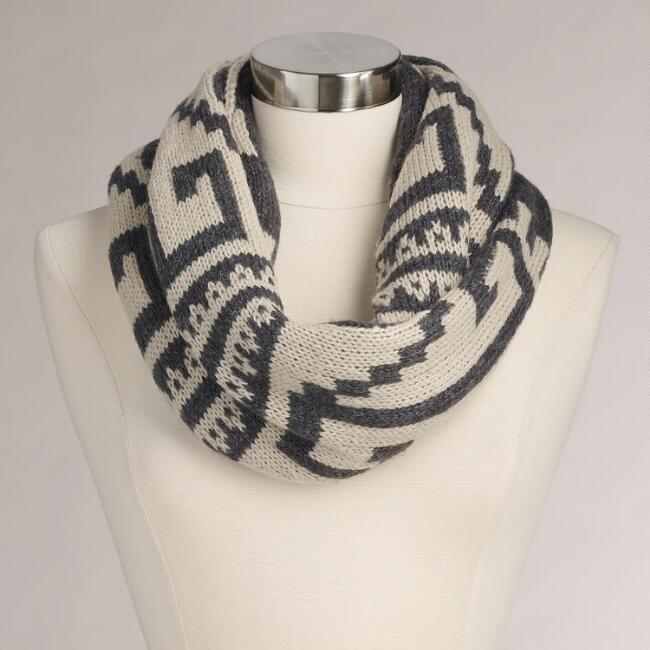 Gray and Ivory Tribal Infinity Scarf
