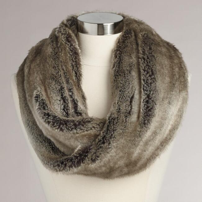 Gray Faux Fur  Snood