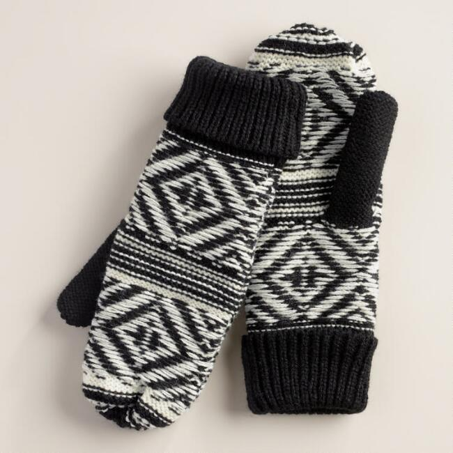 Black and White Geometric Mittens