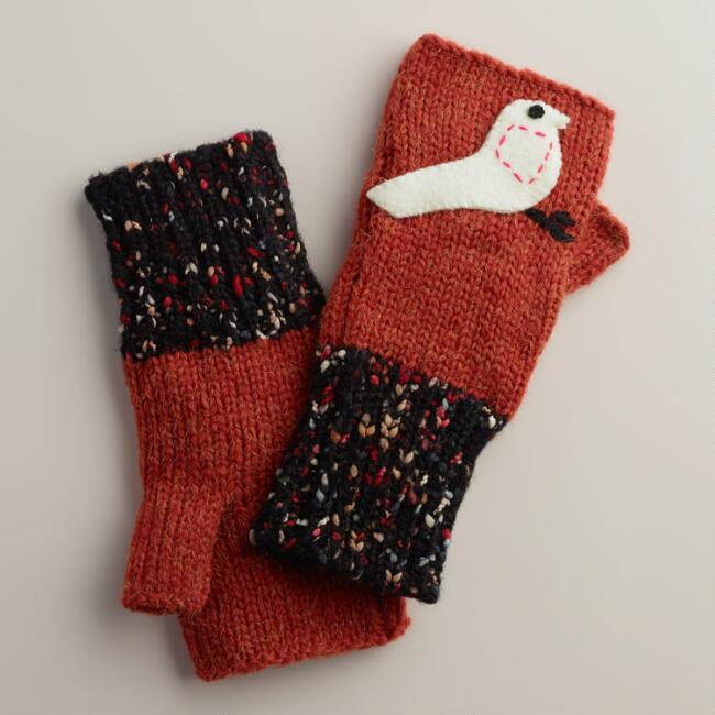 Rust Bird Fingerless  Gloves