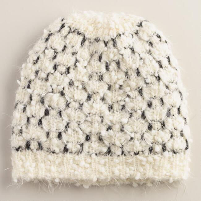 White and Black Fuzzy Beanie