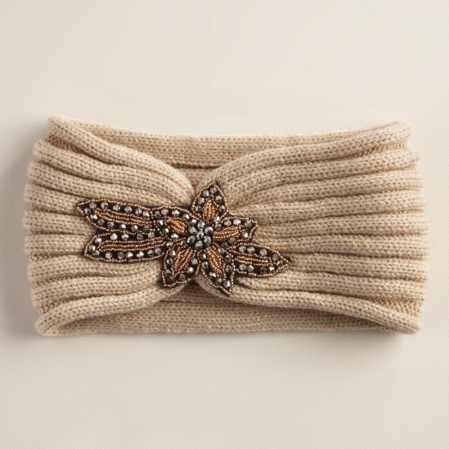 Oatmeal Embellished Sequin Head Warmer