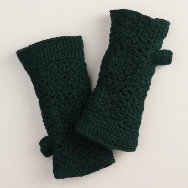 Green Crochet Wool Gloves