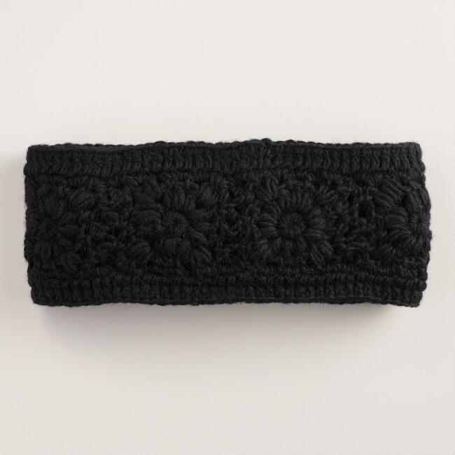 Black Crochet Wool Head Warmer
