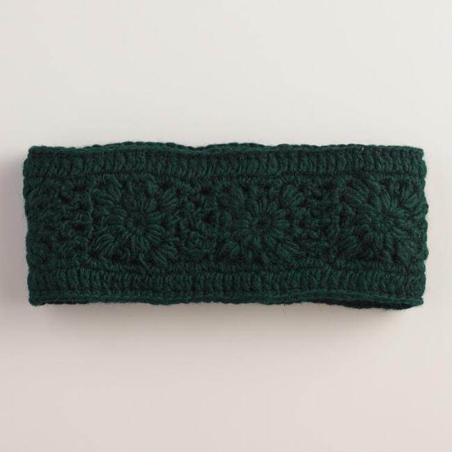 Green Crochet Wool Head Warmer