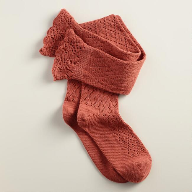 Rust Crochet Over-the-Knee Socks