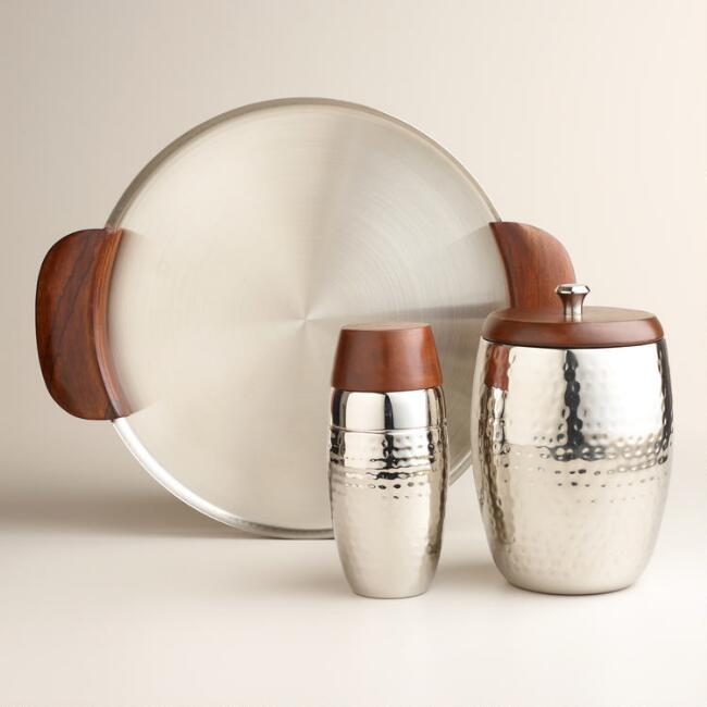 Hammered Silver with Wood Barware Collection